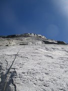 Rock Climbing Photo: Looking up the slab on Pitch 2 from the belay anch...