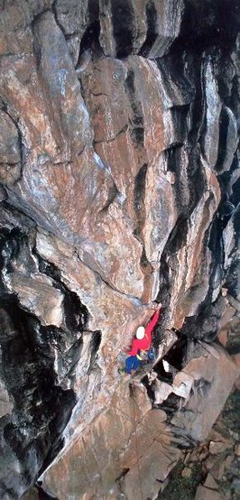 Hermann Gollner on Zebra (5.12a), Upper Grotto Wall.<br> <br> Photo by Micheal Kennedy.