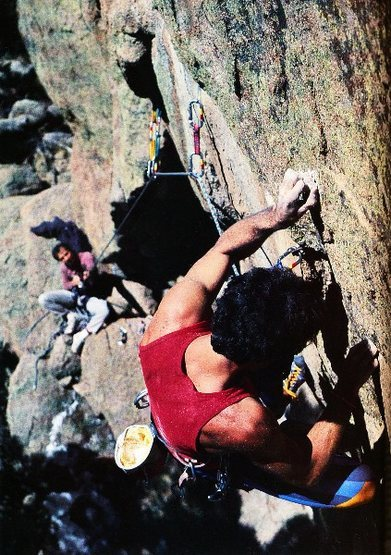 Mark Van Horn on <em>Here's to Future Ways</em> (5.12b), Elevenmile Canyon.<br> <br> Photo by Dan Heidenreich.