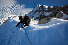Rock Climbing Photo: Pulling over the false summit cornice.