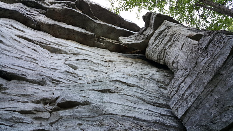 Rock Climbing Photo: Looking up at the face, just to the left of the ro...