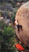 Rock Climbing Photo: Me climbing the route catching the two finger pock...