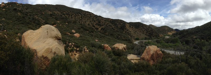 This is a picture of the Munson Boulders area taken on the hilltop overlooking the boulder field facing the road. For perspective, Ojai is to the left, Pine is to the right.