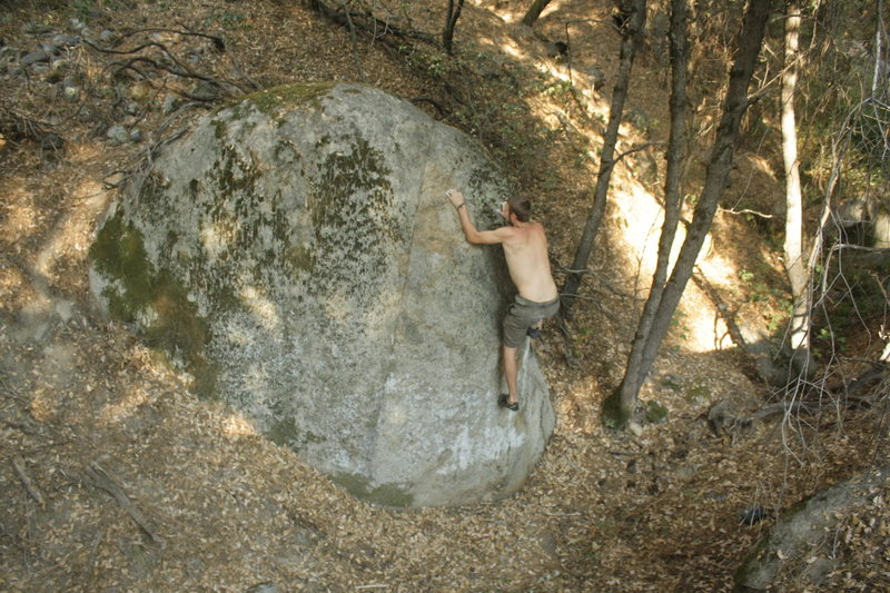 Rock Climbing Photo: Ben Blair with left hand on the crux finishing hol...