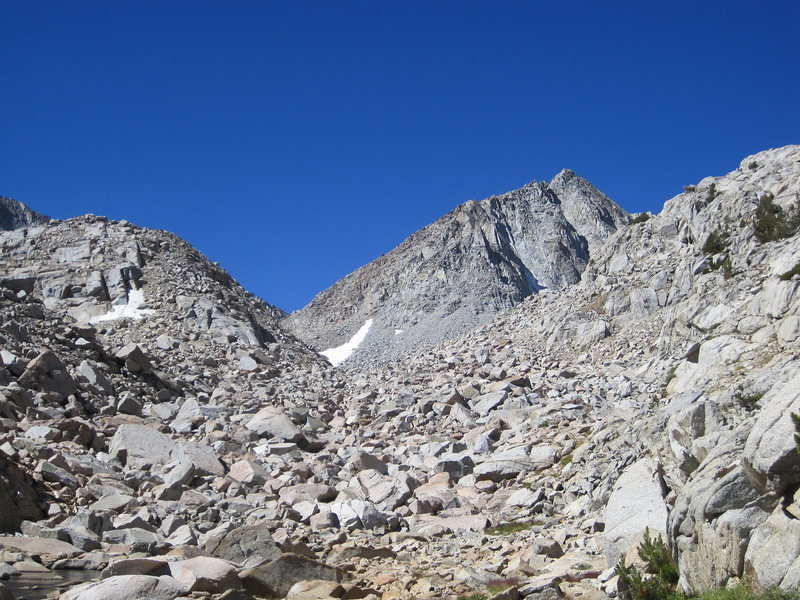 Johnson seen from the approach, note the boulder field. The Southeast Slope is just around the corner of the left skyline.