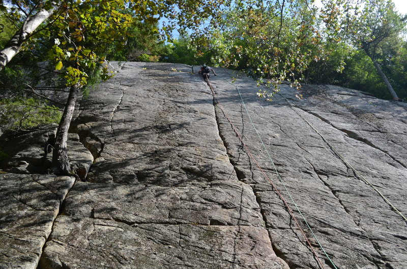 Nearing the top of the shadowed crack