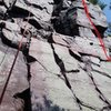 Fun variation (perhaps) of the route, continuing all the way up the right side.  Careful of swing if you fall.