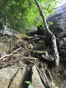 Rock Climbing Photo: Dirty gully that provides access to the upper left...