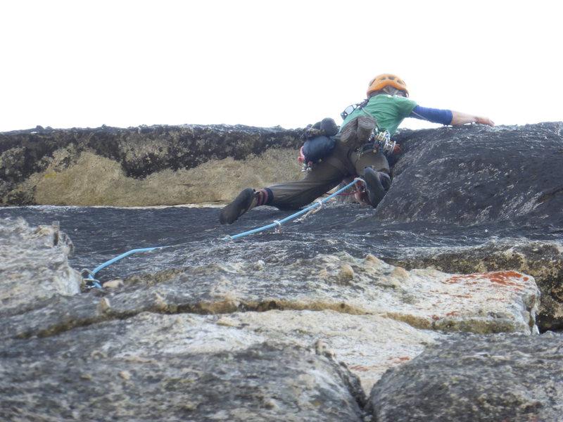 Rock Climbing Photo: Ryan flashing crux.....