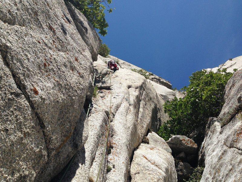 Rock Climbing Photo: Kristin leading pitch 1.