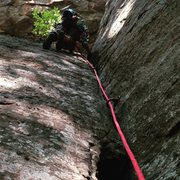 Rock Climbing Photo: Kyle on his first trad lead in the Red