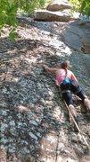 Rock Climbing Photo: Julie leading Pepper and Salt