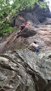 Rock Climbing Photo: Climbing the chossy arete before the finger crack