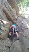 Rock Climbing Photo: Mike pinkpointing Green Hornet (5.8+)