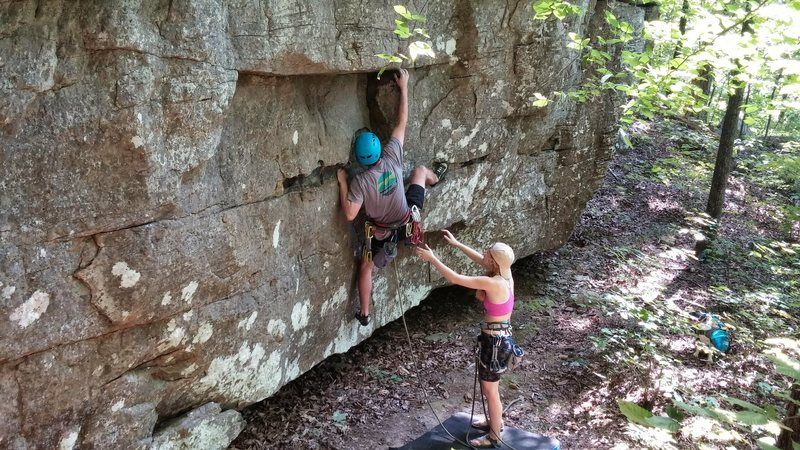 Rock Climbing Photo: Mike bouldering through the starting moves to get ...