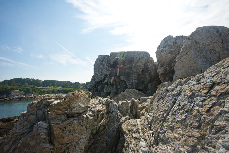 Rock Climbing Photo: Playing around on the crack near the top.  Note th...