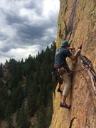 Rock Climbing Photo: Leading the 4th pitch of Rewritten.