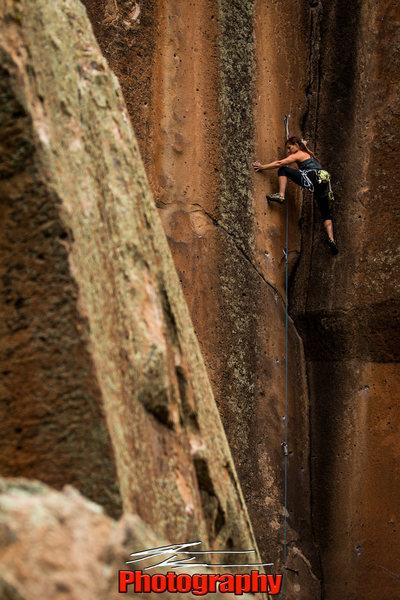 Rock Climbing Photo: Not My Cross to Bear: Penitente Canyon, CO. 5.11a/...