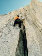 Rock Climbing Photo: Peter Pribik leading the crux 10a corner crack