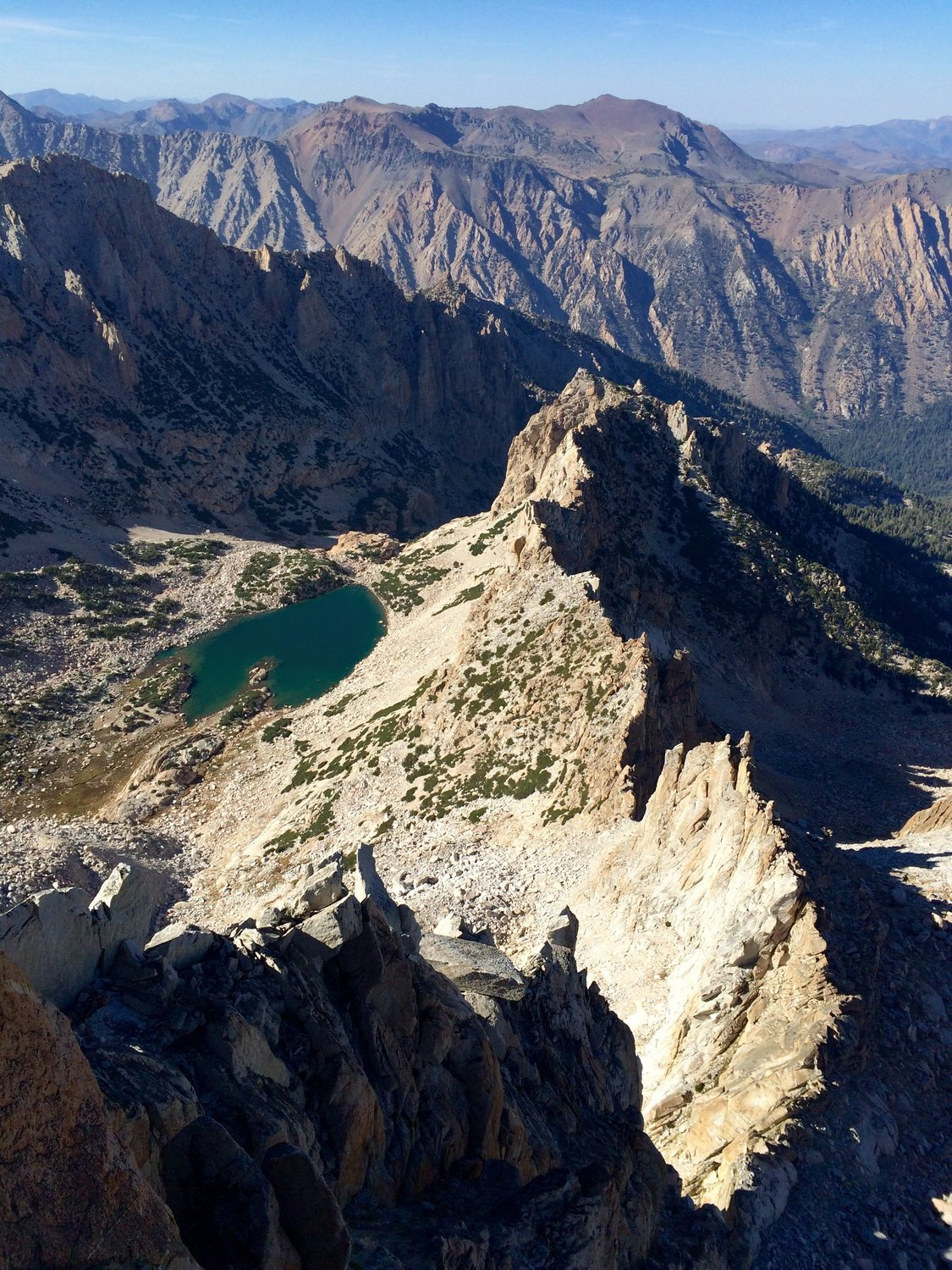 Looking down the North Arete towards Glacier Lake from one ...