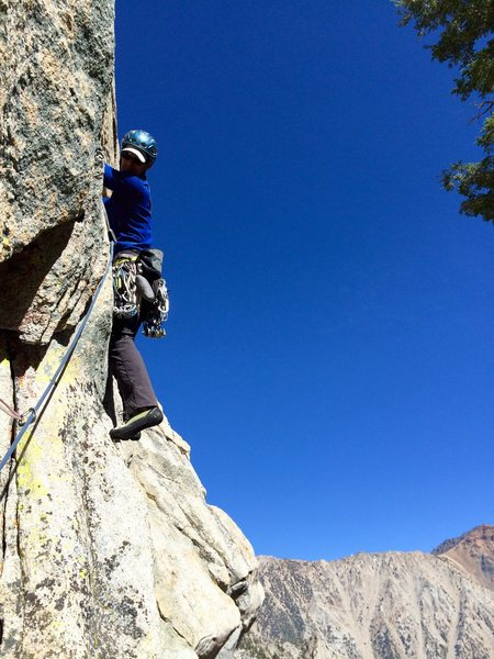 Peter Pribik leading P1 of Outguard Spire's Direct East Face