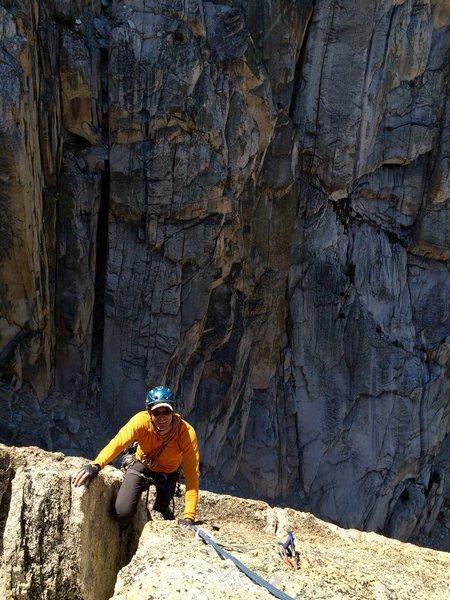 Rock Climbing Photo: Peter Pribik climbing onto the summit block of Out...