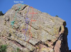Rock Climbing Photo: The expansive upper headwall of Tower Two.