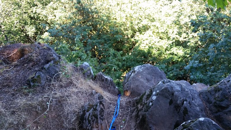 Rock Climbing Photo: view from top. use trees behind as anchor points. ...