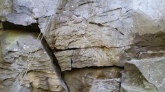 Rock Climbing Photo: opening move of Blueberry. right side crack with p...