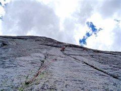 Rock Climbing Photo: The crux pitch 3