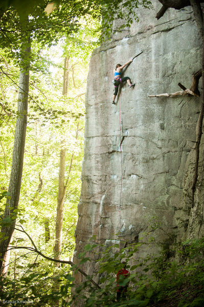 Rock Climbing Photo: Cruxy move to anchors.  Photo by Dan Brayack.
