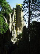 Rock Climbing Photo: From the old road, 30 yards south of the sign in, ...