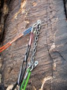 Rock Climbing Photo: Pitch 1 bolted anchor (Sept 2015).