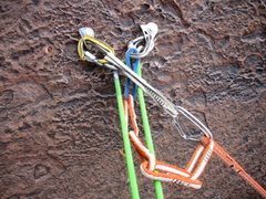 Rock Climbing Photo: Pitch 3 bolted anchor (Sept 2015).