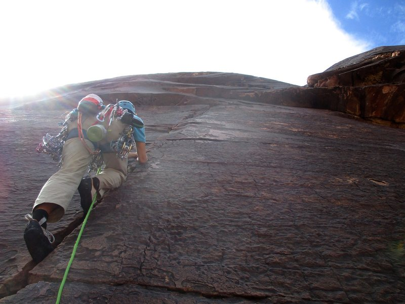 Rock Climbing Photo: Rico leading off Pitch 5 of The Nightcrawler. This...