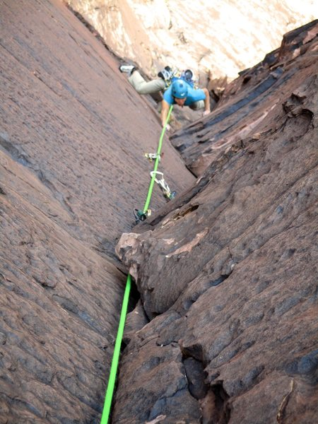 Rico climbing Pitch 3. What a pitch!