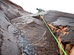 Rock Climbing Photo: The second half of Pitch 5. Rico is at the bolted ...