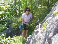 Rock Climbing Photo: S Matz emerges from climbing up through the L-Beam...