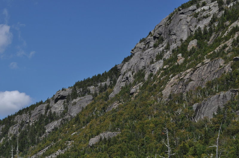 West end crag and route of old gully trail.