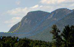 Rock Climbing Photo: Tumbledown from Webb Lake Loop Trail (center, in b...