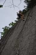 Rock Climbing Photo: Blowing it on the topout