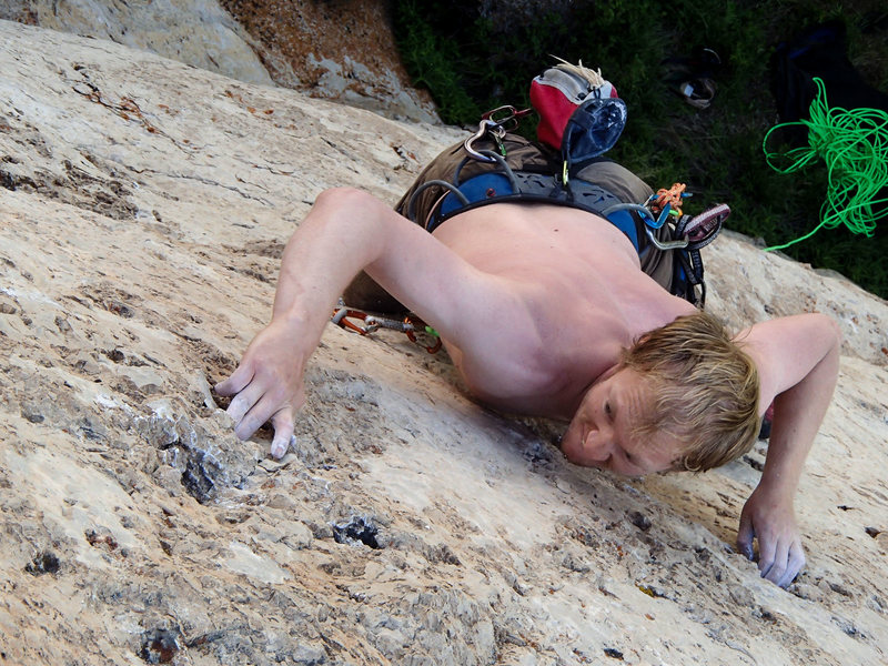 Rock Climbing Photo: Moving through the crux