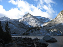 Rock Climbing Photo: Peak after an October squall. The route follows th...