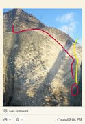 Red line is crimpin ain't easy. Yellow is a harder variation that will be posted as another route