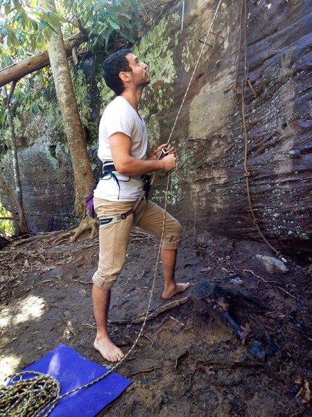 Rock Climbing Photo: Carson on the beelay