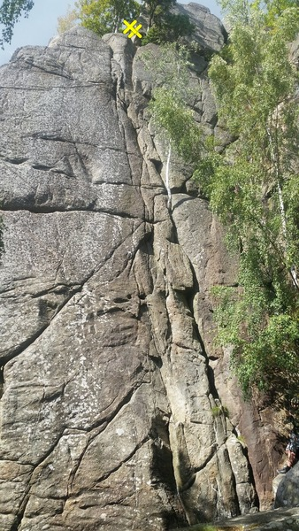 Rock Climbing Photo: The two crags where the route mainly is in the lef...