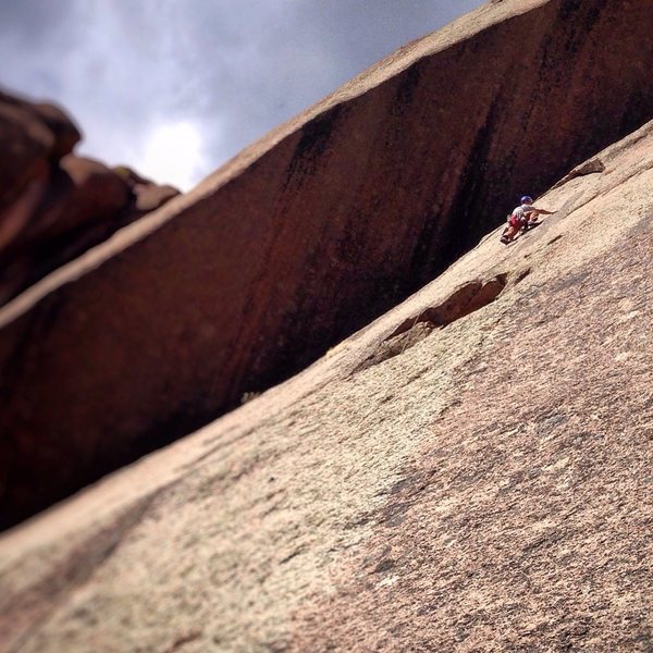 Rock Climbing Photo: Heading into the second pitch crux.