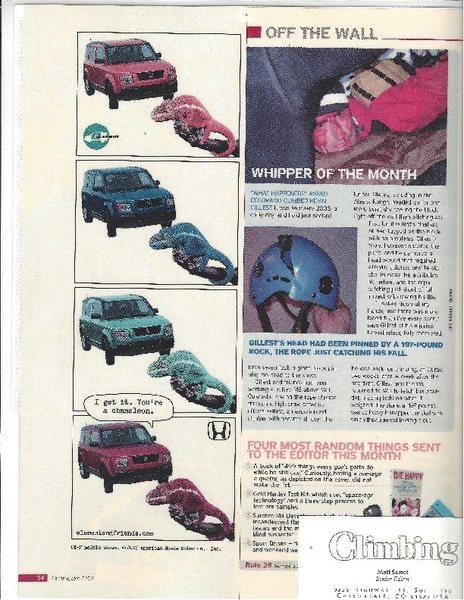 Article in <em>Climbing</em> magazine, August 2006.