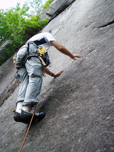 Rock Climbing Photo: Starting Up the Fabulous Slab of P1 of Bolt-in-the...