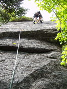 """Rock Climbing Photo: In the crack of """"The Green Mile"""" (climb ..."""